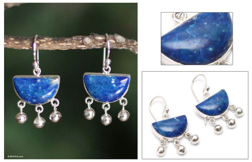 Sterling Silver Dangle Lapis Lazuli Earrings 'Beautiful Universe'