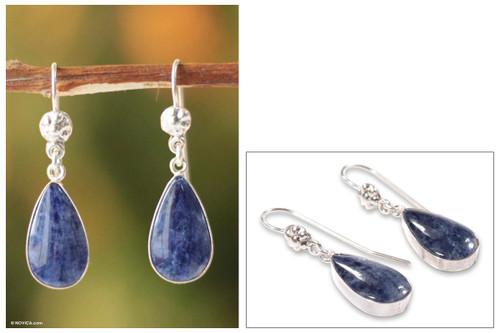 Sterling Silver Sodalite Dangle Earrings 'Inca Aesthetic'
