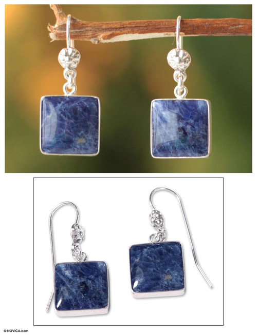 Hand Made Sterling Silver and Sodalite Dangle Earrings 'Inca Mystique'
