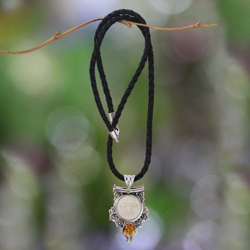 Sterling Silver and Citrine Pendant Necklace 'Sleepy Moon'