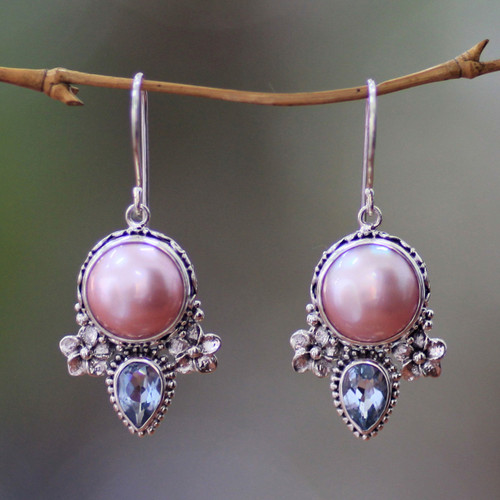 Hand Made Pearl and Blue Topaz Dangle Earrings 'Love Moon'