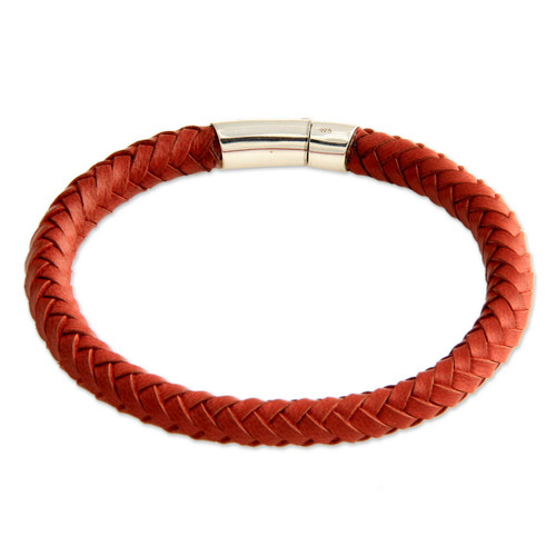 Men's Braided Leather Bracelet 'Brick Road'