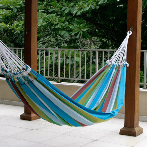 Cotton Striped Fabric Hammock (Double) 'Tropical Day'