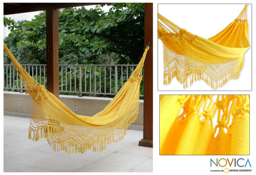 Artisan Crafted Cotton Solid Yellow Fabric Hammock (Double) 'Amazon Sun'