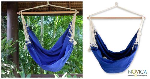 Cotton Solid Blue Swing Hammock 'Copacabana'