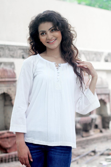Handcrafted Indian Cotton Solid Tunic Top 'Mandala White'