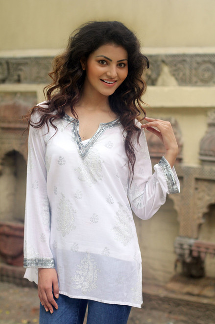 Sheer White Beaded Cotton Blouse with Sequins India 'Paisley Whisper'