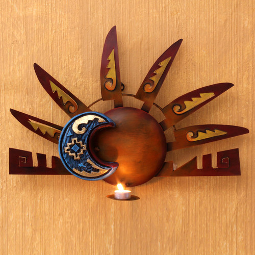 Sun and Moon Steel Wall Sconce Candleholder 'Aztec Eclipse'