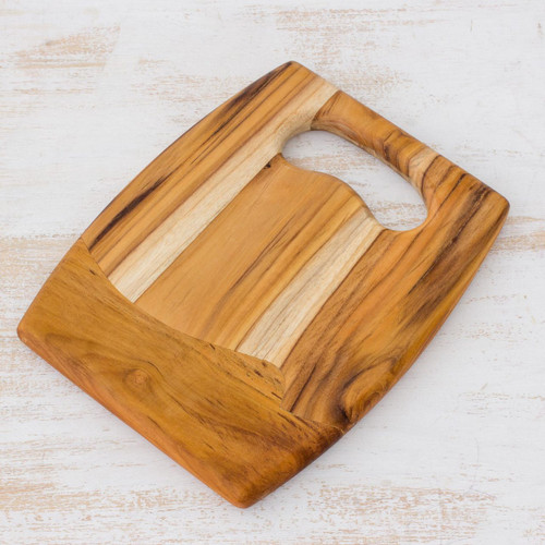 Handcrafted Teakwood Cutting Board 'Surf'