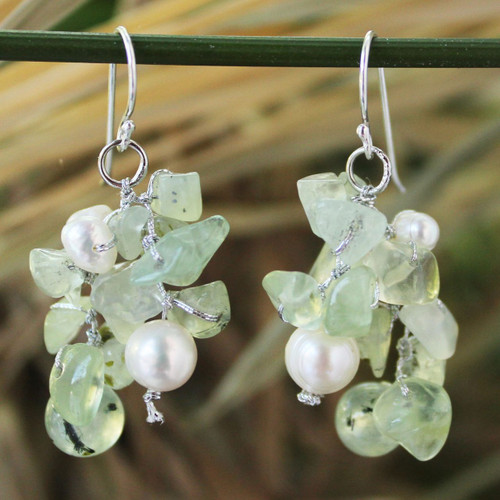 Prehnite and Pearl Dangle Earrings 'Thai Whisper'