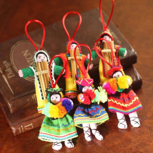 Set 6 Handcrafted Folk Art Christmas Ornaments from Peru 'Andean Dancers'