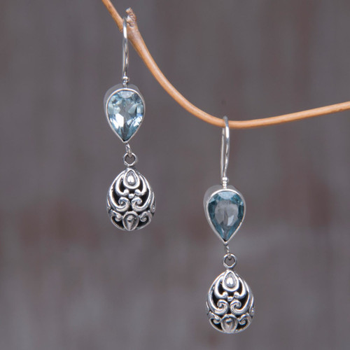 Hand Crafted Sterling Silver and Blue Topaz Earrings 'Lotus Bud'