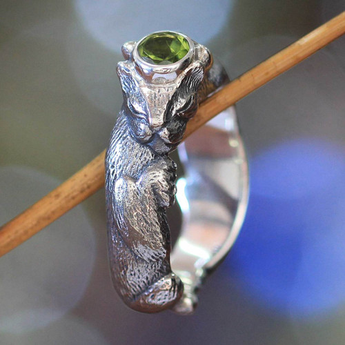 Men's Unique Sterling Silver and Peridot Ring 'Dreams of a Cat'