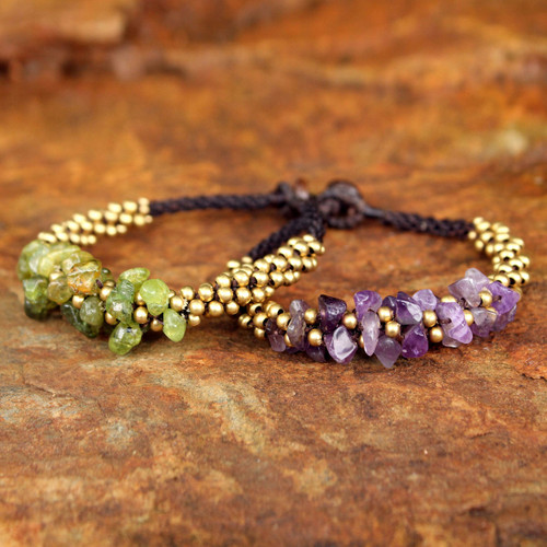 Amethyst and Peridot Beaded Bracelets (Pair) 'Lilac Green Orchids'