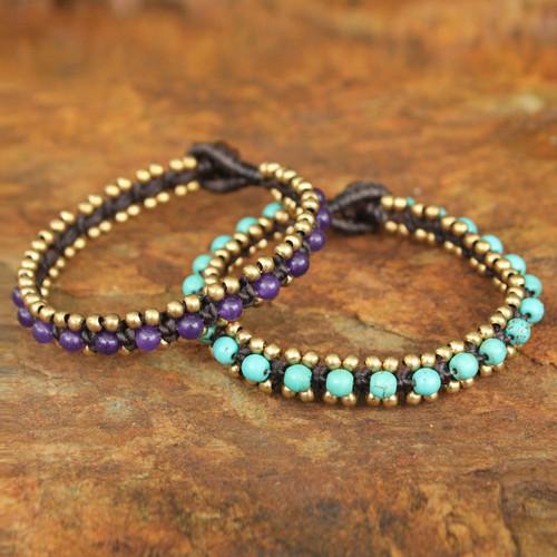 Hand Made Quartz and Resin Beaded Bracelets (Pair) 'Blue Purple Aryuveda'