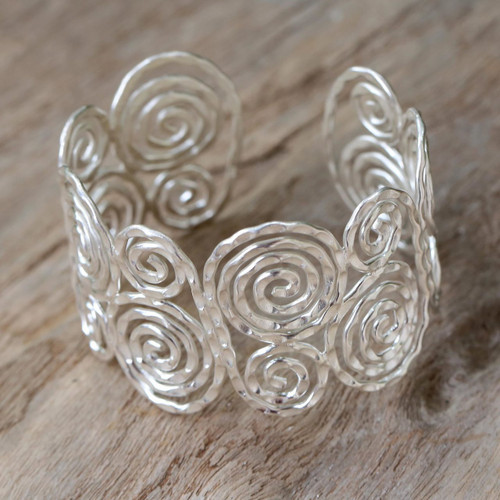 Thai Sterling Silver Cuff Bracelet 'Tribal Universe'