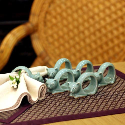 Celadon Ceramic Napkin Rings (Set of 6) 'Siamese Cat'