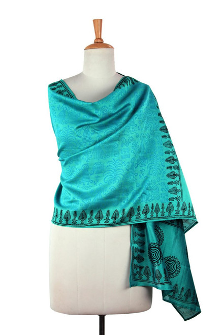 Cotton Silk Blend Wrap Patterned Shawl 'Turquoise Bihar'