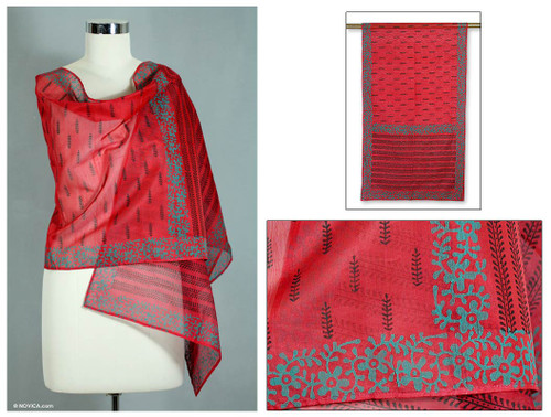 Artisan Crafted Women's Shawl Cotton Silk Wrap 'Blossoming Fire'