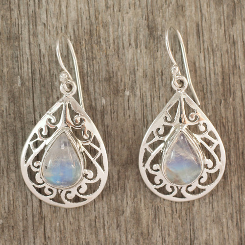 Moonstone Jewelry Handmade Sterling Silver Earrings 'Rainbow Teardrops'