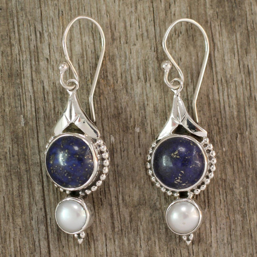 Fair Trade Sterling Silver Pearl and Lapis Lazuli Earrings 'Haryana Harmony'