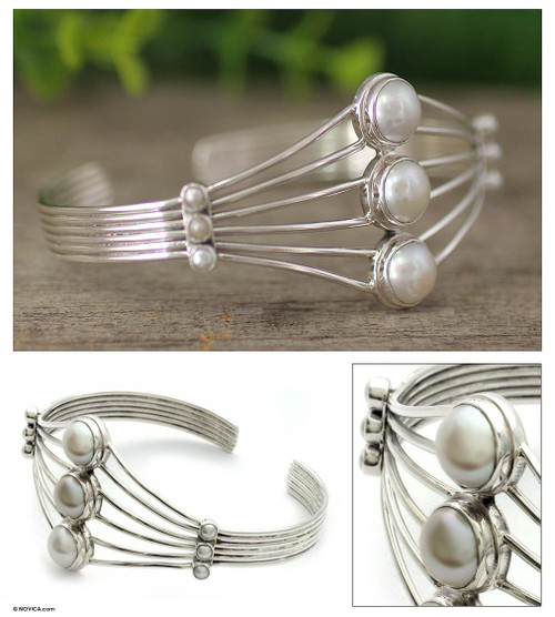 Sterling Silver and Pearl Cuff Bracelet 'Promise by Moonlight'