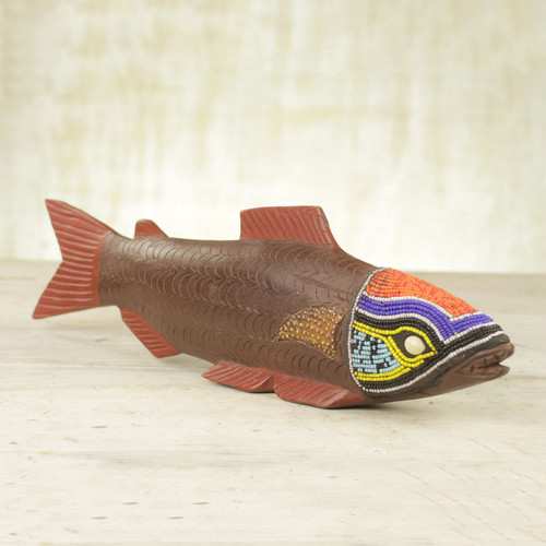 Ghana Hand Carved Wood Sculpture 'Tribal Salmon'