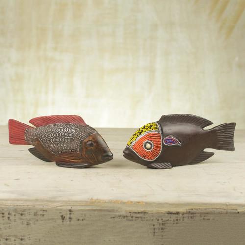Beaded Wood Sculptures (Pair) 'African Tilapia Fish'