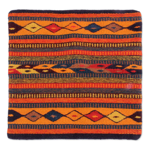 Hand Made Geometric Wool Multicolor Cushion Cover 'Hills of Fire'