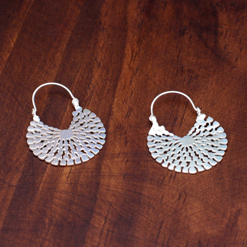Handcrafted Sterling Silver Hoop Earrings 'Aztec Magnificence'