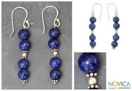 Lapis lazuli dangle earrings 'Pillars of Love'