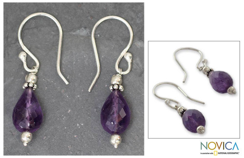 Amethyst dangle earrings 'Jagannath Mystique'