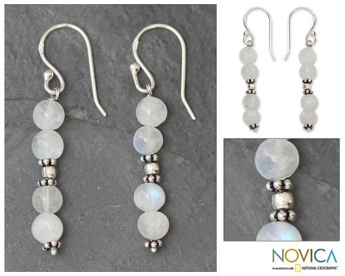 Moonstone dangle earrings 'Pillars of Impassioned Love'