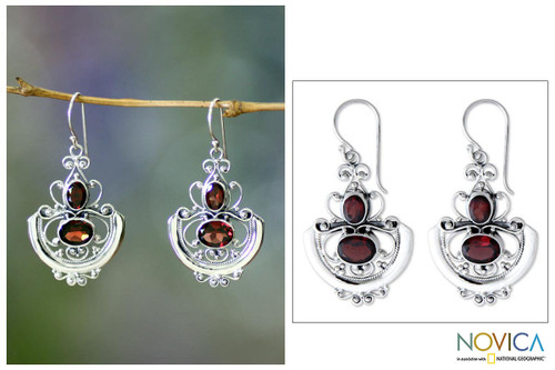 Sterling Silver and Garnet Dangle Earrings 'Balinese Goddess'