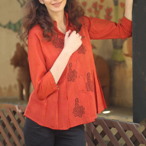 Handcrafted Block Print Cotton Tunic Top from India 'Jaipur Summer'