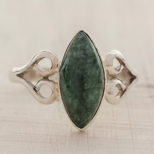 Heart Shaped Sterling Silver Jade Ring 'Two Hearts in Green'
