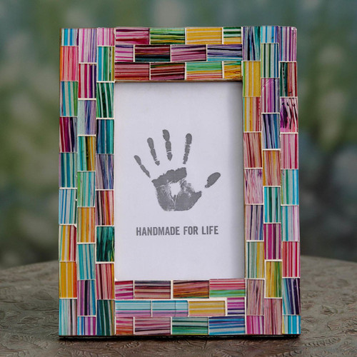 Colorful Glass Mosaic Handcrafted Photo Frame 'Indian Rainbow'