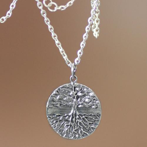 Men's Handmade Sterling Silver Necklace 'Inspiration Tree'
