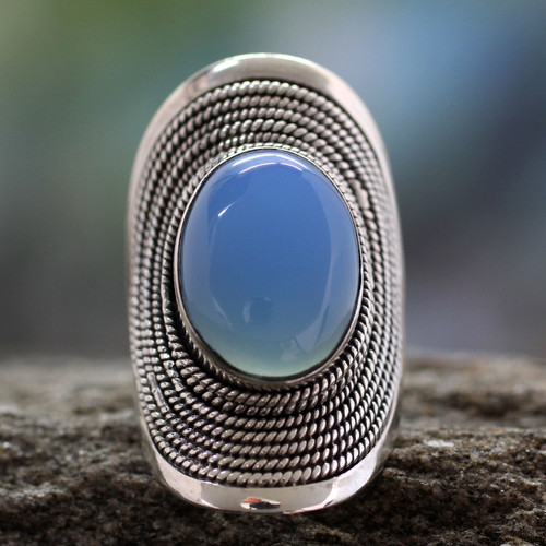 Sterling Silver Jewelry Chalcedony Ring from India 'Jaipur Skies'