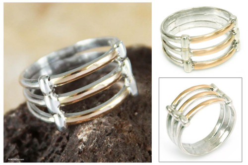 Hand Made 18K Gold Accent Sterling Silver Band Ring 'Cuzco Warmth'