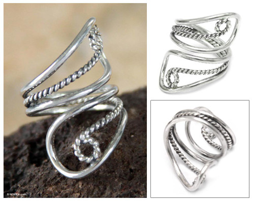 Unique Sterling Silver Wrap Ring 'Song of Life'