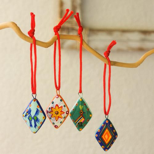 Handmade Ceramic Christmas Ornaments (Set of 6) 'Festive Guatemala'