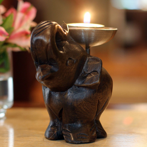 Fair Trade Mango Wood Candle Holder 'Elephant of Old Siam'