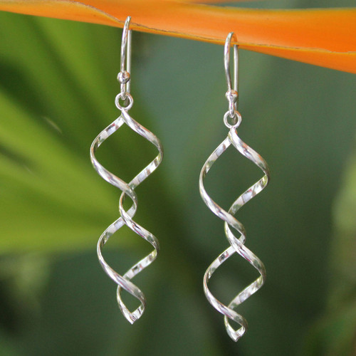 Handmade Sterling Silver Dangle Earrings 'Songkran Joy'