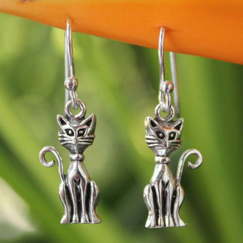Sterling Silver Cat Earrings 'Feline Fantasy'