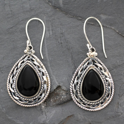 Handmade Sterling Silver and Onyx Indian Earrings 'Palace Memories'