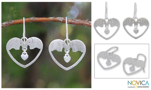 Sterling Silver Dangle Earrings 'Elephants in Love'