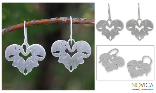 Unique Sterling Silver Elephant Dangle Earrings 'Sweetheart Elephants'