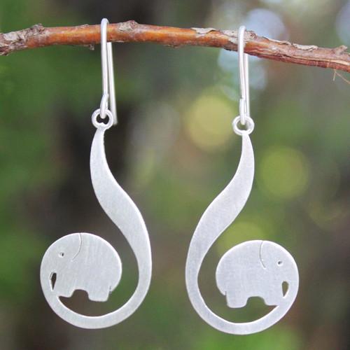 Modern Sterling Silver Dangle Earrings 'Surreal Elephants'