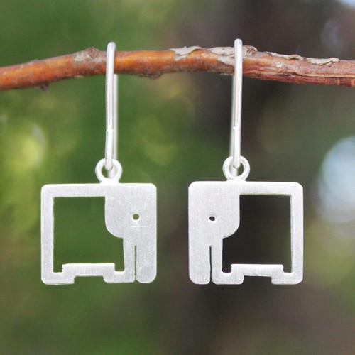 Sterling Silver Dangle Earrings 'Naif Elephants'